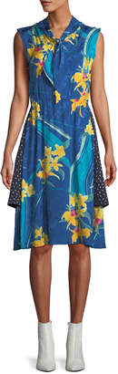 Vetements Sleeveless Tie-Neck Two-Layer Floral & Dot-Print A-Line Silk Dress