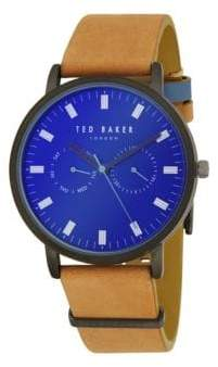 Ted Baker Stainless Steel & Leather-Strap Watch