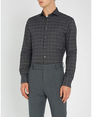 Smyth & Gibson Checked slim-fit brushed-cotton shirt