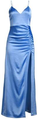Alice + Olivia Diana V-Neck High Slit Midi Dress