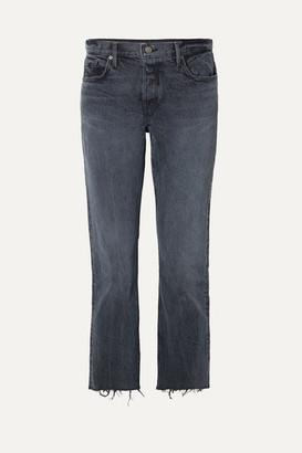 GRLFRND Tatum Cropped Frayed Mid-rise Straight-leg Jeans - Dark denim