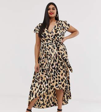 b85a7d158 AX Paris Plus leopard print dip hem midi dress