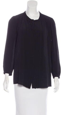 Burberry Brit Pleated Long Sleeve Blouse