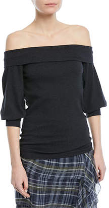 Brunello Cucinelli Off-Shoulder Ribbed Cotton Top
