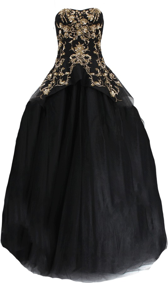 Marchesa Gold Embroidered Tulle Gown