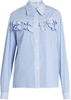 Miu Miu Striped ruffle-trimmed cotton-poplin shirt