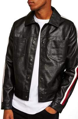 Topman Faux Leather Western Jacket