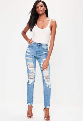Missguided Blue High Rise Mom Jeans
