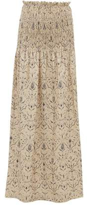 Sachi Sir Floral Print Smocked Linen Canvas Maxi Skirt - Womens - Cream Multi