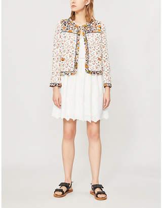 Claudie Pierlot Roma lace-trim broderie-anglaise cotton dress