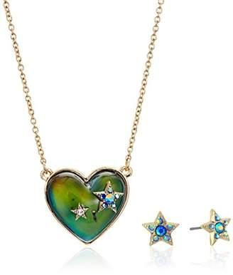 Betsey Johnson Heart Shape Mood Pendant and Star Stud