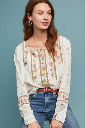 Burning Torch Esme Silk Peasant Top