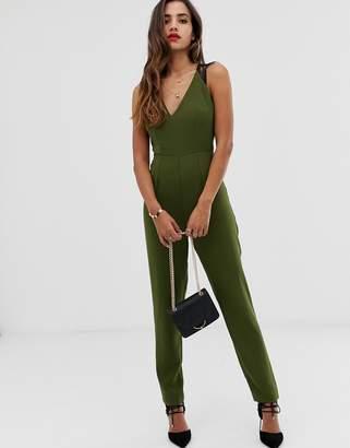 Asos Design DESIGN lace trim peg leg jumpsuit