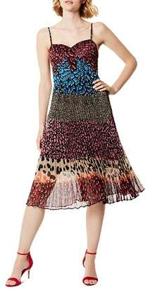 Karen Millen Mixed Animal-Print Pleated Dress