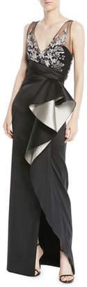 Marchesa Two-Tone Stretch Mikado Column Gown