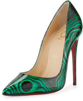 Christian Louboutin So Kate Marbled Red Sole Pump, Green/Black $745 thestylecure.com