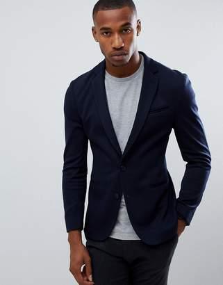 Asos Design DESIGN super skinny blazer in navy jersey
