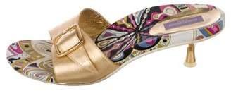 Emilio Pucci Metallic Leather Slide Sandals