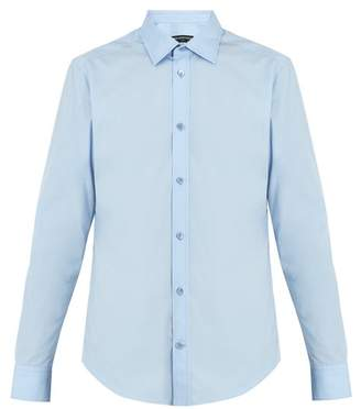 Balenciaga Point Collar Single Cuff Cotton Shirt - Mens - Blue