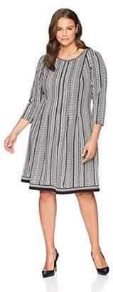 Lark & Ro Women's Plus Size 3/4 Sleeve Dress