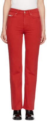 ALEXACHUNG Red Bootcut Jeans