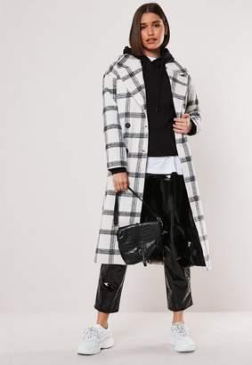 Missguided Cream Oversized Check Coat