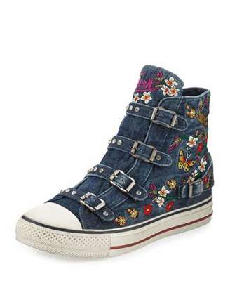 Ash Virtu Embroidered Denim High-Top Sneaker, Blue $175 thestylecure.com