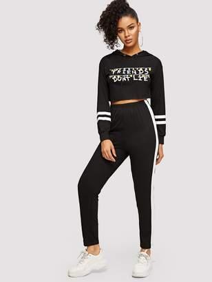 Shein Mixed Print Crop Hoodie and Pants Set