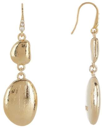 Cole Haan Satin Finish Crystal Pave Double Drop Earrings