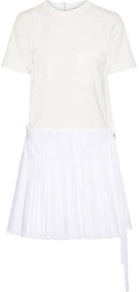 SEA - Pleated Cotton-poplin And Jersey Mini Dress - White $385 thestylecure.com