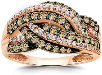FINE JEWELRY LIMITED QUANTITIES 1 CT. T.W. Champagne and White Diamond 14K Rose Gold Multi-Row Ring