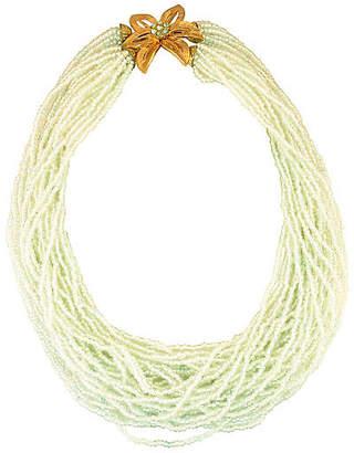 One Kings Lane Vintage 1950s Aqua Seed Bead Necklace - Neil Zevnik