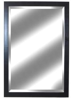 "Alpine Art & Mirror Ebony Classic Carbon Fiber Woven Wall Mirror, 26.5"" x 39.5"" with Beveled Glass"