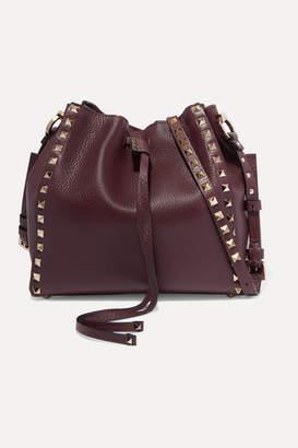 Valentino Garavani Rockstud Small Textured-leather Bucket Bag - Burgundy