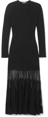 Alexander McQueen Mesh-paneled Ribbed Stretch-knit Dress - Black