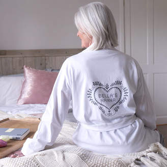 Sparks And Daughters Personalised Folk Heart Womens Dressing Gown