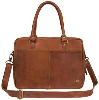 "Mahi Leather Leather Oxford Zip-Up Satchel Briefcase Bag With 15"" Laptop Capacity In Vintage Brown"