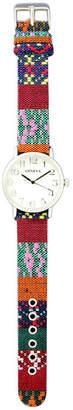 MOP OLIVIA PRATT Olivia Pratt Womens Silver-Tone Faux Dial Fabric Strap Watch