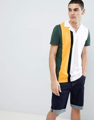 Asos Design DESIGN polo shirt with vertical colour block in green