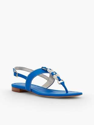 Talbots Keri T-Strap Sandals - Rope & Nappa