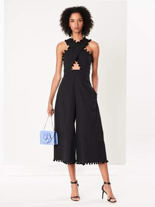 Oscar de la Renta Black Crisscross Stretch-Cotton Poplin Jumpsuit