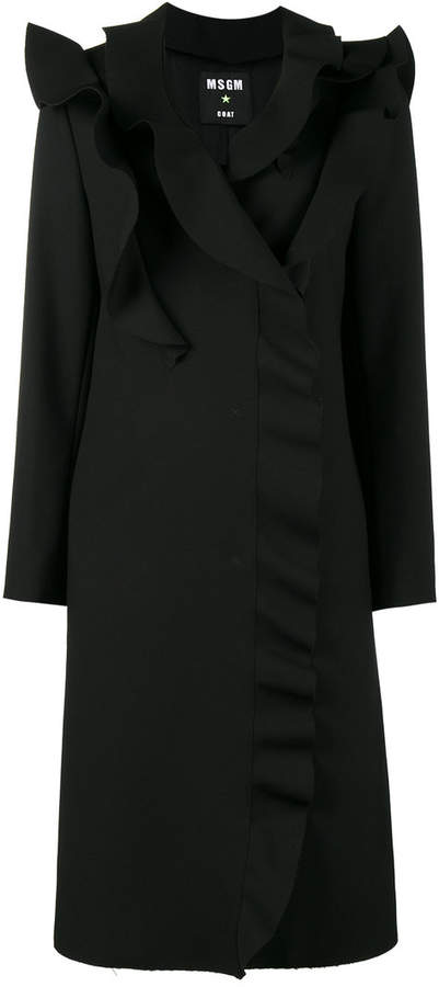 MSGM ruffled double-breasted coat
