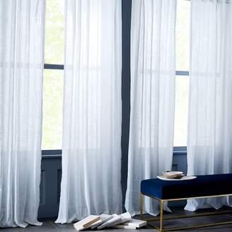 west elm Sheer Crosshatch Curtains (Set of 2) - White