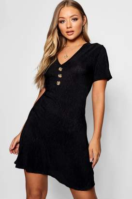 boohoo Crinkle Fabric Mock Horn Button Detail Skater Dress