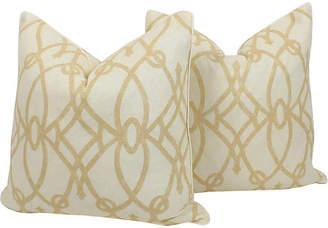 One Kings Lane Vintage Cream & Ivory Linen Trellis Pillows - Pr - Ivy and Vine