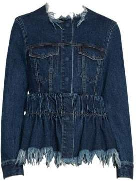 Marques Almeida Marques'Almeida Marques'Almeida Women's Fitted Frill Hem Denim Jacket - Stone Wash - Size Medium