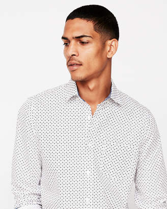 Express Slim Soft Wash Airplane Print Button-Down Shirt