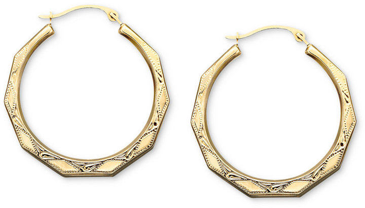 10k Gold Earrings, Engraved Hoop