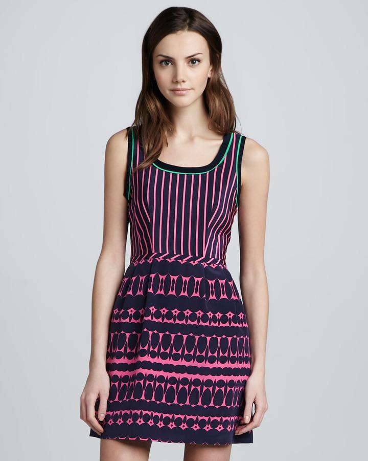 Nanette Lepore Striped Printed Sleeveless Dress