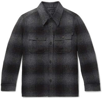 Brioni Checked Brushed Wool And Alpaca-Blend Overshirt